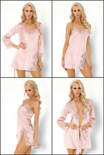LIVCO CORSETTI Ainhoan Luxury Soft Satin Robe, Chemise and Matching Thong Set