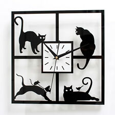 Wall Clock Cute Kitty Cat Home Decor Pastoral Watch Novelty Gift 12""