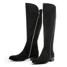 NIB Donald J Pliner Noca Crepe Elastic Leather Tall Double Zipper Black Boot 6.5