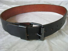 "1-5/8"" Strong 1 Piece Black Solid Leather Belt & Roller Buckle 25 - 33"" Waist"