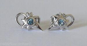 Clogau 9ct Gold White Gold Richard Doyle Blue Topaz Stud Leaf Earrings