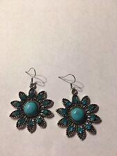 Hollow Flower Turquoise Pendant Tibet silver Hook dangle Earrings-E901