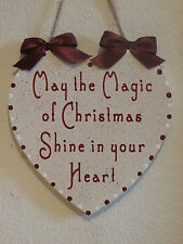 Decorative Handcrafted Wooden Christmas Heart Sign MAY THE MAGIC OF CHISTMAS