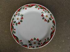 """Gibson Christmas WinterBelle 9 3/4"""" DINNER  PLATE  White Flower Holly Berries"""