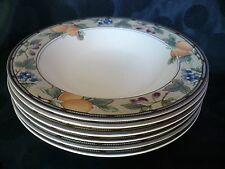 "Mikasa Intaglio ""Garden Harvest"" 6 Soup, Salad, Pasta Dishes Bowls Rimmed 9 3/8"""