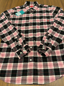 2016 SUPREME FLANNEL PLAID LONG SLEEVE BUTTON-UP SHIRT PINK BLACK WHITE RED M