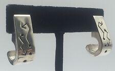 Mexican Sterling Silver 925 Crooked Arrow J Hook Post Back Earrings