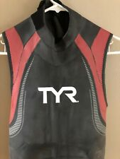 TYR Mens L Black Red Wetsuit Sleeveless HURRICANE CAT 5