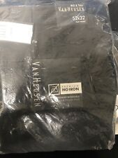 Van Heusen Mens Pants Black Size 52X32 Big & Tall No-Iron Dress - Pleat $75 T48
