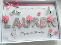 Handmade Personalised Card Birthday 18th 20th 30th Any Name Sister Gift Box