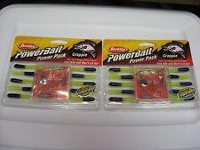 "2 Power Packs Berkley Crappie 1"" Tube Jig Fishing PowerBaits / Black-Chartreuse"