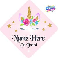 Personalised Unicorn Face Floral Child/Baby on Board Car Sign New ~ Soft Pink 1
