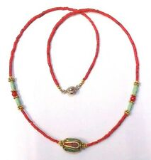 Afghan Tiny Seed Coral, Turquoise, Nepalese Beads Necklace Silver & Gold Plated