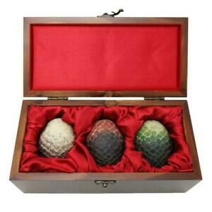 Game of Thrones Dragon Egg Prop Replica Set in Wooden Box Targaryen Edition.