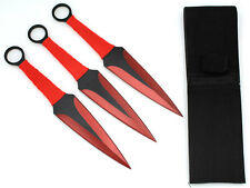 Snake Eye Tactical RED 3 Piece Two Tone Throwing Knife Set w/ Sheath 9""