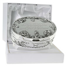 Granddaughter Birthday Christmas Xmas Gift Engraved Silver Plated Trinket Box