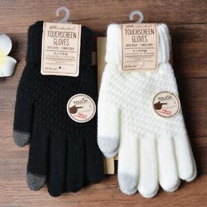 Winter Touch Screen Gloves Women Warm Knit Mittens Imitation Wool Full Finger