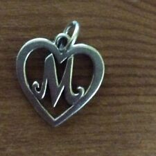 James Avery M Initial Letter Heart Sterling Silver Charm Rare