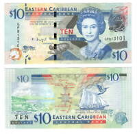 EASTERN EAST CARIBBEAN STATES $10 Dollars UNC Banknote (2015) P-52b Queen E II 2