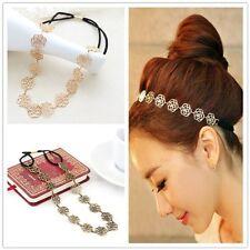 Women Metal Accessories Fashion Hollow Rose Flowers Elastic Hair Band Headband