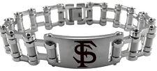 FLORIDA STATE SEMINOLES FSU * Stainless Steel Bike Chain Bracelet w/Logo Jewelry