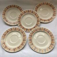 "TaylorStone Etruscan 5 Dessert Salad Plates 6 3/4"" Mid Century Design Atomic 60s"