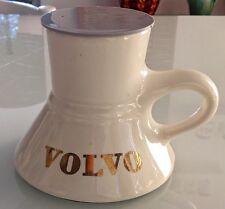 Vtg VOLVO Non-Spill Wide Bottom Commuter Travel Coffee Cup Mug White Non Skid