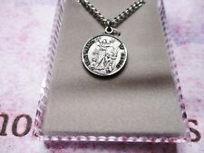 """Saint St. Francis of Assisi - with 24"""" Chain -  Pewter 7/8 Round inch Medal"""