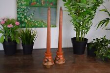 More details for pair 1930s art deco hand painted red faux wooden candlesticks and holders