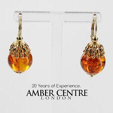 Italian Made Classic Baltic Amber in 14ct Gold Drop Earrings GE0361 RRP£600!!!