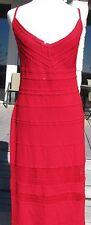 St John red Santana knit dress, extensive lacy & scalloped trim, paillettes 14