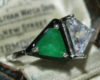 Geometrical Art Deco Style Sterling Silver Emerald Crystal Enamel RING 7.75 P1/2