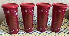 Tupperware Tumbler Christmas Red w/ Glitter Set of 4 16oz New