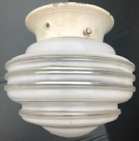 Vintage UNIQUE Art Deco White/Clear Glass Ceiling Light Globe Shade Cover Ribbed