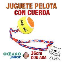 JUGUETE PELOTA DE TENNIS PERRO CON CUERDA Y ASA ALGODÓN TRENZADO 36cm D23 3017