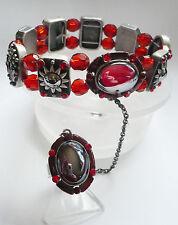 Ring + Armband Strass hochwertig elastisch Metall Schmuck rot silber schwer NEU