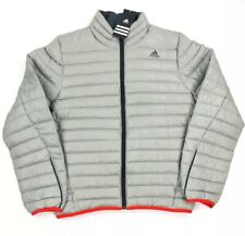 Adidas Mens Light Down Jacket Packable Gray Size Medium With Bag New