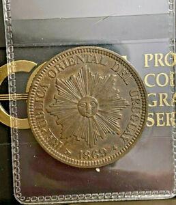 Uruguay 1869H 4 Centesimos KM 13