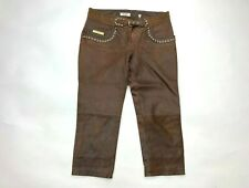 Moschino Jeans Donna Leather Cropped Pants Brown Lined Pocket Flat Front Women 6