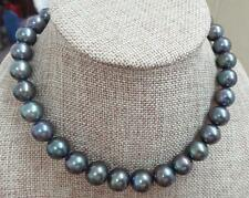 "HUGE 18""13-16mm south sea genuine gray blue perfect round pearl necklace AAAA"
