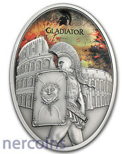 Fiji 2013 Gladiators of Rome Provocator $10 Pure Silver Coin Oval Antique Finish