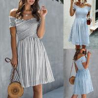 ❤️Womens Stripe Print Off Shoulder Swing Mini Dress Ladies Summer Beach Sundress