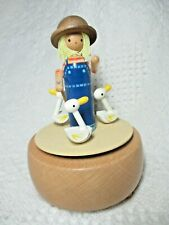 """Wooden Schmid Music Box, Girl with Three Moving Geese, Made in Japan, 6"""", No Box"""