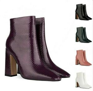 Womens Punk Ankle Boots Patent Leather Zipper Square Toe Shoes High Block Heel L