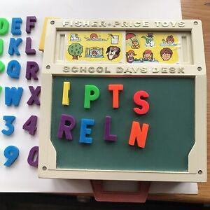 "Vintage Fisher Price School Days Desk w/ Letters + Numbers (missing ""U"")"