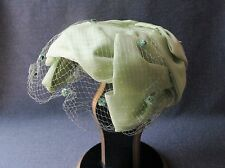 VINTAGE NICE DESIGN WITH BOW LIGHT GREEN VELVET DOTS TULLE WOMEN HAT w HATPIN