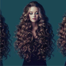 Women Long Hair Curly Wig Long Wavy Ombre Brown Synthetic Full Wigs Cosplay Wigs