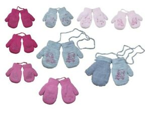 Baby Girl Toddler Winter Terry Mittens With String Gloves  Size 9-24 Months