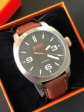 Hugo Boss Orange Mens Cape-Town Leather Strap Watch Round Black Dial 1513408 NWT