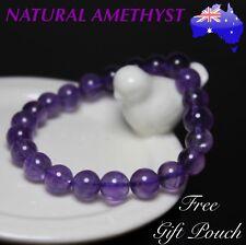 Genuine Natural Purple Amethyst 8mm Bead Crystal Bracelet Boho Bangle Women Gift